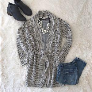 LOFT black and cream belted cozy cardigan